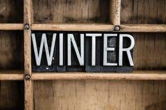 Слово Letterpress металла концепции зимы в ящике Стоковая Фотография RF
