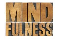 Слово Mindfulness в деревянном типе Стоковое фото RF