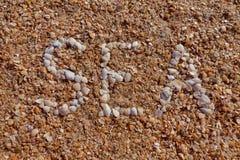 Слово & x27; Sea& x27; выровнянный с seashells проекты интернета предпосылки искусства возможные, котор нужно использовать Стоковые Фотографии RF