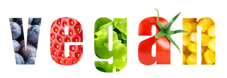 Слово Vegan стоковое изображение