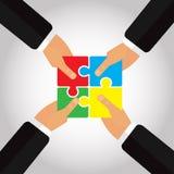 Сложенные головоломки в руках 4 вручают иллюстрацию Стоковые Изображения