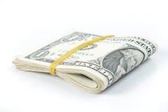 Сложенный долларовых банкнот Стоковая Фотография