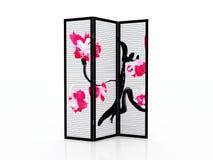 Сложите изолированную мебель экрана японскую внутреннюю Стоковые Изображения