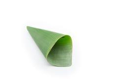 Сложите лист банана на белизне Стоковая Фотография RF