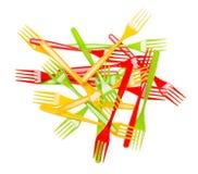 Сложите красочный крупный план вилок пластмассы изолированный на белой предпосылке Стоковые Фото