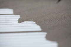 Сложите точную береговую линию пляжа песка на деревянной белой изолированной дороге Стоковая Фотография