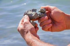 Сломайте в половине камня поглотил в пальцах руки человека Стоковая Фотография RF