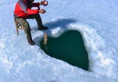 Сломайте лед и fish&Concept творческой рыбной ловли стоковые фотографии rf