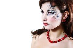 Сломанная хеллоуином девушка куклы красивая Стоковые Изображения RF