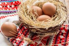 сломанные коробкой яичка яичка цыпленка внутри желтка стоковое фото rf