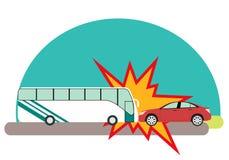 сломанный аварией фокус водителя автомобиля около отражательного предупреждения тельняшки треугольника безопасности дороги иллюстрация штока