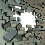 Сломано в части кирпичную стену с отверстием copyspace бесплатная иллюстрация