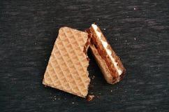 Сломленная вафля шоколада Стоковая Фотография