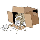 Сломленная коробка пересылки поставки иллюстрация штока