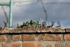 Сломленная стена безопасностью стеклянных бутылок Стоковое Фото
