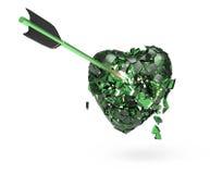 сломленное лоснистое металлическое сердце при стрелка изолированная на черной предпосылке Шаблон плаката дня валентинок представл Стоковые Изображения