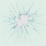 Сломленное прозрачное стекло на checkered предпосылке шотландки шток иллюстрации конструкции под вектором иллюстрация штока