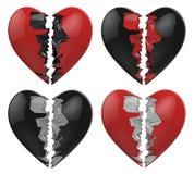 Сломленное черное изолированное сердце Стоковое Изображение RF