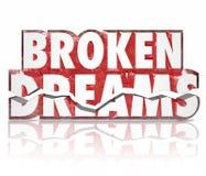 Сломленные мечты задавили слова разочарованием 3d отказа духа иллюстрация вектора