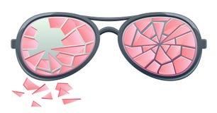 Сломленные розовые стекла иллюстрация вектора
