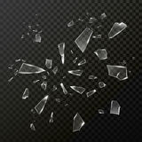 Сломленные твердые частицы осколков стекла Вектор прозрачный иллюстрация вектора