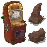 Сломленные торговый автомат и камни Изолированный вектор иллюстрация штока