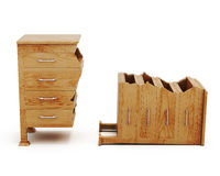 Сломленный деревянный комод на белой предпосылке перевод 3d Стоковое фото RF