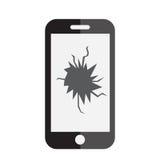 Сломленный значок экрана телефона Телефон с сломленным значком экрана Плоский стиль также вектор иллюстрации притяжки corel Стоковые Изображения