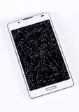 Сломленный дисплей на мобильном телефоне Стоковое фото RF