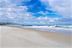 Сломленный мост на пляже St Claire, Данидине Стоковые Изображения RF
