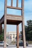 Сломленный стул в Женеве Стоковое Фото
