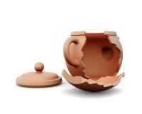 Сломленный чайник глины на белой предпосылке 3d представляют цилиндры image Стоковое Изображение
