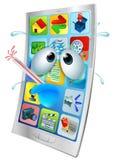 Сломленный шарж вируса телефона иллюстрация вектора