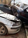3 сломленных автомобиля во время дорожного происшествия Стоковые Изображения RF