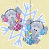 2 слона в наушниках меха Стоковые Изображения