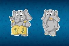 Слоны стикеров Держит сумки денег Много деньги при загерметизированный рот Большой комплект стикеров Вектор, шарж иллюстрация штока