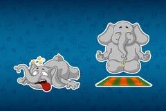 Слоны стикеров Она делает йогу Он споткнулся и упался Большой комплект стикеров Вектор, шарж бесплатная иллюстрация
