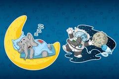 Слоны стикеров Он спит на луне Астронавт в космосе Иллюстрация штока