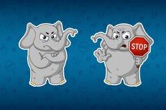 Слоны стикеров Остановите знак, владения в руках предупреждение Nelovolen Большой комплект стикеров Вектор, шарж Иллюстрация штока
