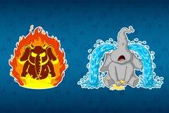 Слоны стикеров Сердитый, он ` s на огне Всхлипы, большие разрывы Большой комплект стикеров Вектор, шарж иллюстрация штока
