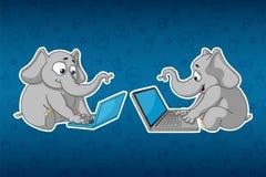 Слоны стикеров Сидит на компьютере Работа на интернете Сообщение в сети Большой комплект стикеров Вектор, шарж иллюстрация штока