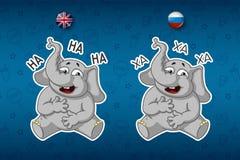 Слоны стикеров Смех держа ее живот Большой комплект стикеров в английских и русских языках Вектор, шарж иллюстрация вектора