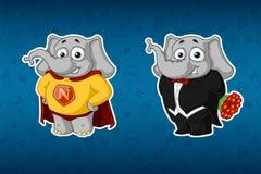 Слоны стикеров Супергерой в плаще В смокинге, держа букет цветков Большой комплект стикеров Вектор, шарж Бесплатная Иллюстрация
