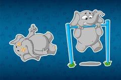 Слоны стикеров Тяга-вверх турникета Оно ` s крепко для его Лежа труп Большой комплект стикеров Вектор, шарж иллюстрация вектора