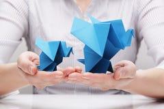 Слоны сделанные бумаги (концепция) Стоковое фото RF