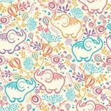 Слоны с предпосылкой картины цветков безшовной Стоковое Изображение RF