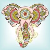 Слон вектора на орнаменте индейца хны иллюстрация штока