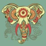 Слон вектора на орнаменте индейца хны иллюстрация вектора