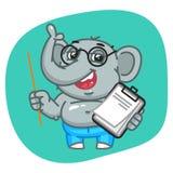Слон в брюках джинсов держа указатель и тетрадь бесплатная иллюстрация