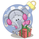 Слон в наушниках меха Стоковое Изображение